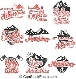 hiking, mountain exploration emblems. Handwritten lettering logo