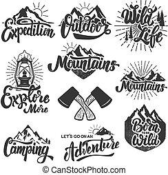 hiking, mountain exploration emblems. Handwritten lettering logo, label, badge. Isolated on white background. Vector illustration.