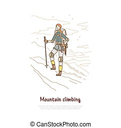 Hiking, mountain winter climbing, female hiker with professional mountaineering equipment banner template. Traveling, trekking, extreme sport, hobby concept cartoon sketch. Flat vector illustration