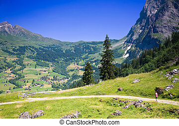 Hiking near Grindelwald in the Canton of Bern in Switzerland