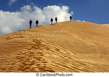 Hiking on a sand dune