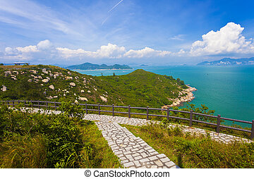 Hiking path in the mountains in Hong Kong