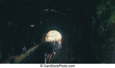 Hiking Pathway on the Levada Waterway with Dark Tunnel,...