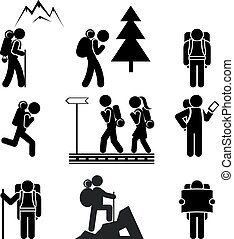 Hiking people icons - Black silhouettes of tourists with...
