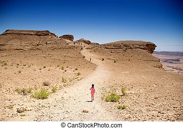 Hiking people in desert