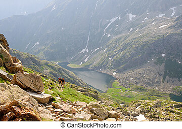 Hiking people in pyrenees at summer