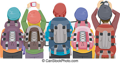 Back View Illustration Featuring a Group of Hikers Taking Photographs