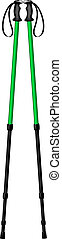 Hiking poles in green and black design on white background