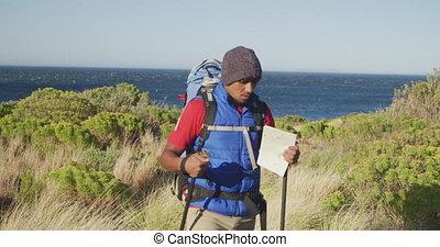hiking, protetyczny, człowiek, noga, natura, mieszany prąd
