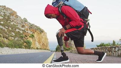 hiking, protetyczny, człowiek, sporty, noga, mieszany prąd