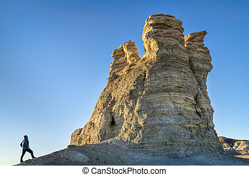 hiking rock formation at Castle Rocks in Kansas