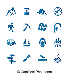 Hiking set icons - This image is a vector illustration and ...
