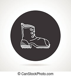Hiking shoe black round vector icon - Flat black round...