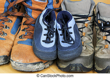 Hiking shoes from father, mother and baby