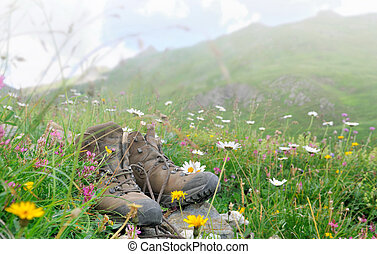 hiking shoes in mountain