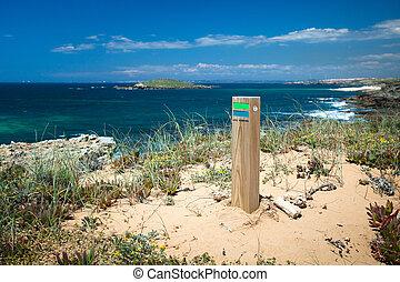 hiking sign coast portugal - hiking trail portugal , rota ...
