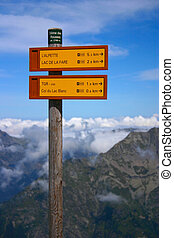 Hiking Signpost with Mountains