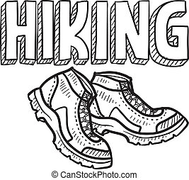 Hiking sketch - Doodle style hiking outdoor sports ...