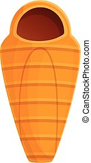 Hiking sleeping bag icon, cartoon style - Hiking sleeping...