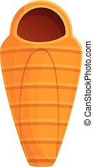 Hiking sleeping bag icon, cartoon style