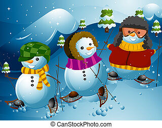 Illustration of a Group of Snowmen Doing Some Mountain Hiking