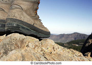Hiking - Walking boots with blue sky in the background