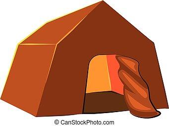 Hiking tent icon, cartoon style - Hiking tent icon. Cartoon ...