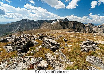 Arapaho Glacier Trail crosses the Continental Divide in the Colorado mountains