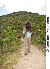 hiking through the path