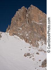 touring ski tracks in snow