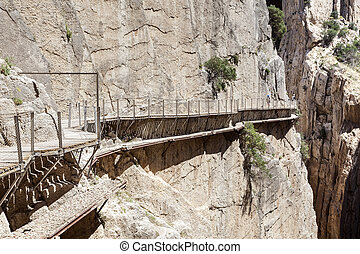 Hiking trail 'El Caminito del Rey' - King's Little Path, former world's most dangerous footpath wich was reopened in May 2015. Ardales, Malaga province, Spain