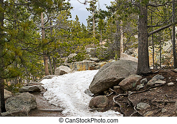 Hiking trail covered by snow in Colorado