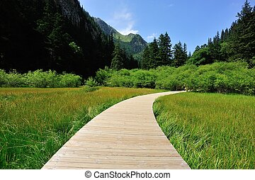 hiking trail on jiuzhaigou