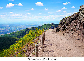Hiking trail on Vesuvius volcano.