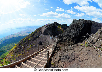 Hiking trail on Vesuvius volcano, Italy