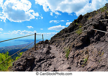 Hiking trail on Vesuvius volcano. Italy