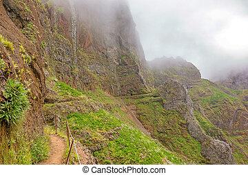 Hiking trail passage Pico Arieiro to Pico Ruivo - path along abyss