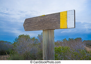 Hiking trail signpost