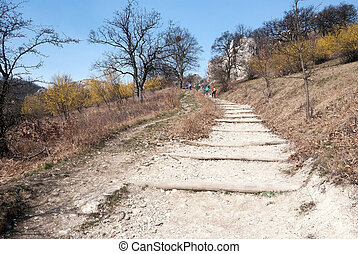 hiking trail to Devin hill in spring Palava mountains in South Moravia
