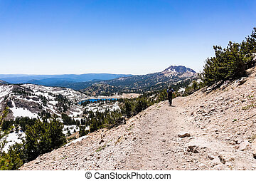 Hiking trail to Lassen Peak, Lake Helen in the background; ...