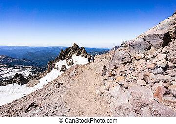 Hiking trail to Lassen Peak; Lassen Volcanic National Park, ...