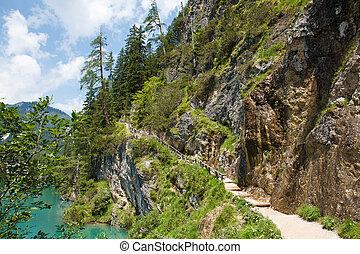 hiking tril around Lago de Braies, Italy