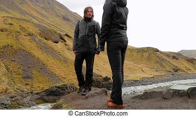 Hiking trip in Iceland - Hiking in Iceland rainy weather,...