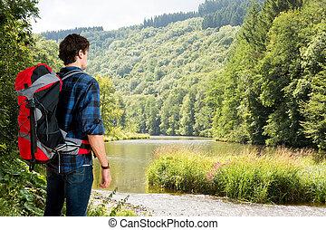 hiking, um, com, natureza