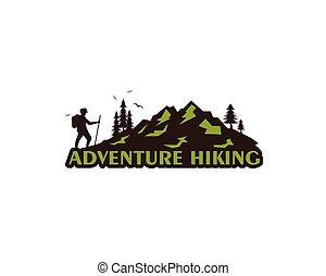 hiking, wektor, projektować, przygoda, ikona, ilustracja