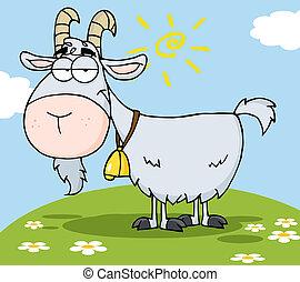 hil, carácter, goat, caricatura