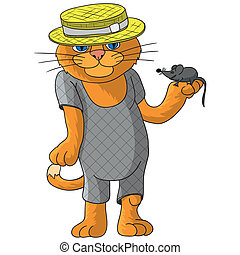 Hilarious cat in a straw hat.