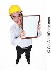 hilarious craftsman holding clipboard