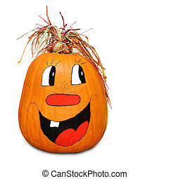Hilarious happy pumpkin - Isolated pumpkin with happy...