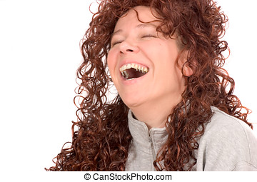 Hilarious - Young woman laughing out loud